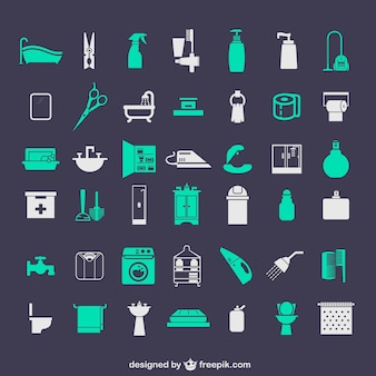 Bathroom icons set