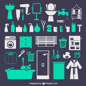 Bathroom set of vector icons