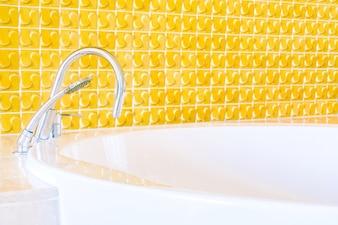 Bathtub with antique chrome faucet