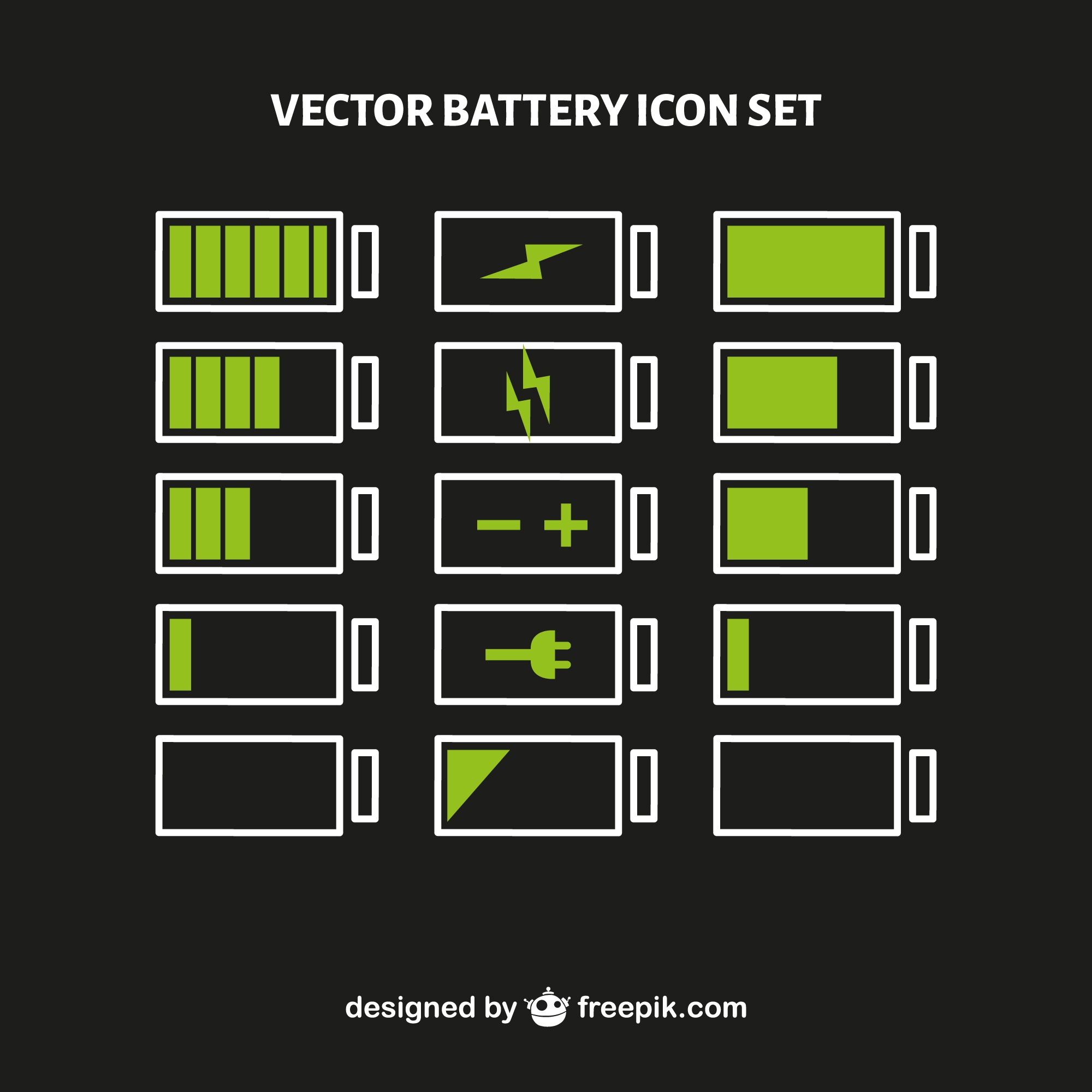 Battery level vector set