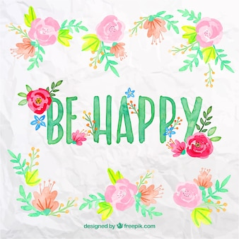 Be happy in watercolor style