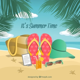 Beach background with summer accessories