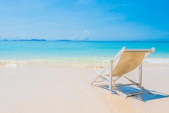 Beach chair on the seashore