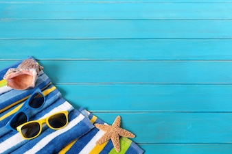Beach objects with sunglasses