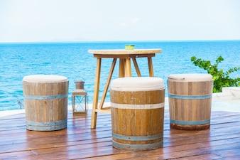 Beach table nobody water sky