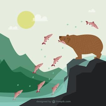 Bear hunting fishes