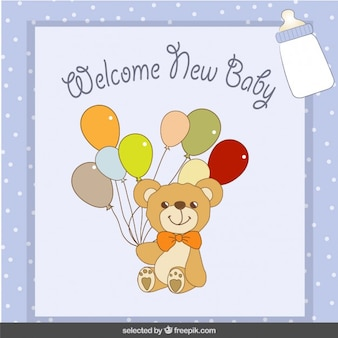 Bear with balloons baby shower card