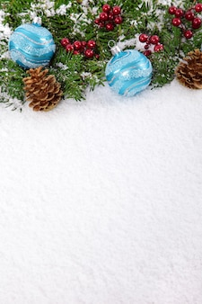Beautiful christmas ornaments in snow
