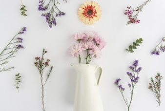 Beautiful composition with flowers and vase