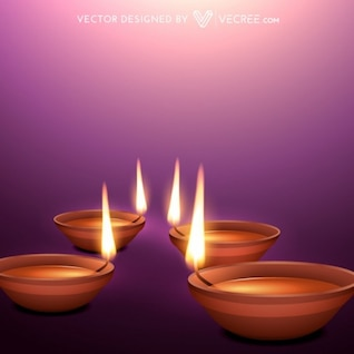 Beautiful diwali flames on purple background