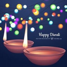 Beautiful diwali with colorful lights