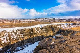 Beautiful famous waterfall in Iceland, winter season .