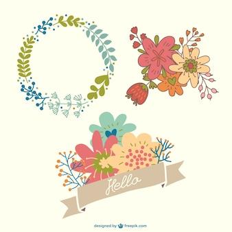Beautiful floral ornaments set