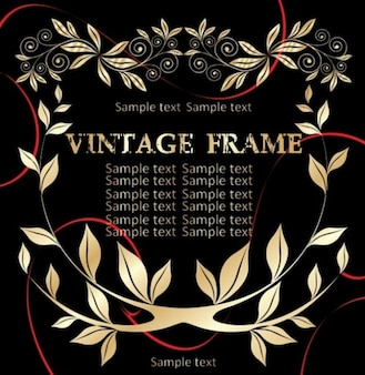 Beautiful gold leaves with floral vintage frame