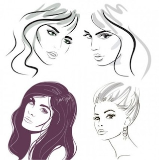 beautiful hand painted female head silhouttes vector