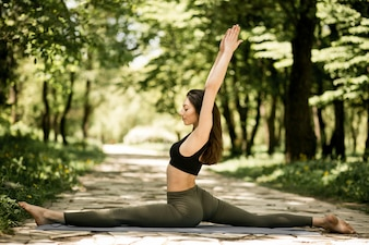 Beautiful healthy woman yoga lifestyle