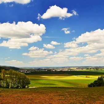 Beautiful landscape. Natural scenery with sky and clouds. Czech Republic.