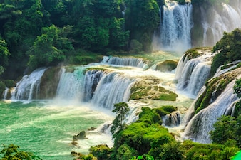 Beautiful lanscape with waterfall