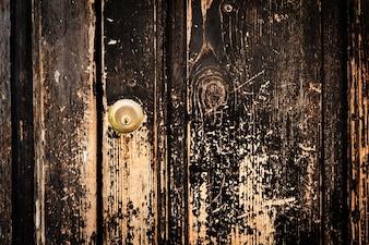 Beautiful Old Antique Dark Wooden Texture Surface Background Backdrop. Old Door with Door Lock. Copy Space.