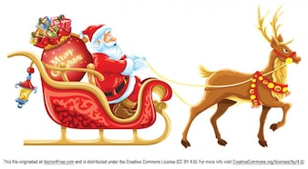 Beautiful Santa Claus and reindeer with gifts