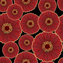 Beautiful seamless pattern with red flowers