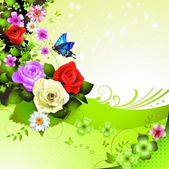 Beautiful spring roses vector natural design