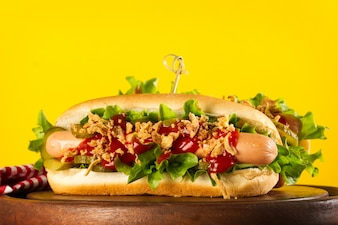 Beautiful Tasty classic traditional hot dog with sausages and ke