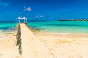 Beautiful water villas in tropical Maldives island  .