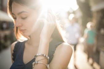Beautiful woman and sunshine