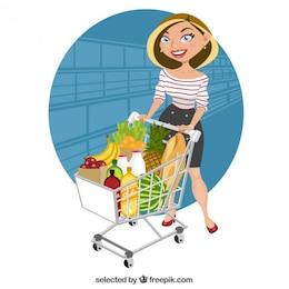 Beautiful woman at supermarket
