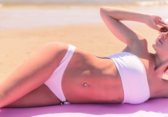 Beautiful woman on a beach