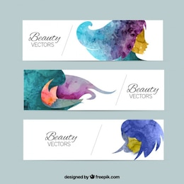 Beauty banners in watercolor style