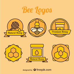 Bee and honey color logos collection