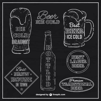Beer labels with blackboard texture