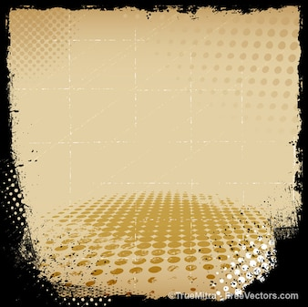 Beige dotted grunge halftone background