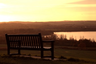 Bench at sunset