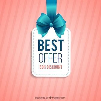 Best offer label hanging on a ribbon