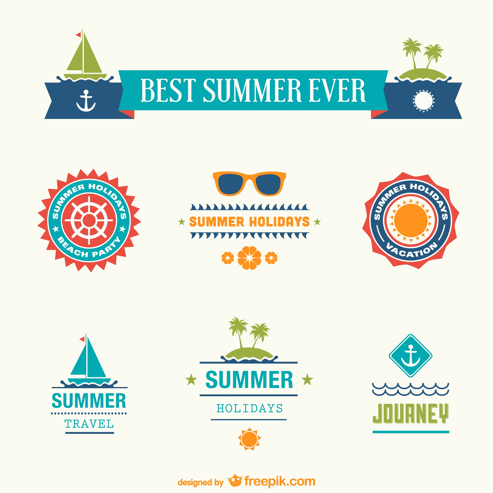 Best summer ever badges set
