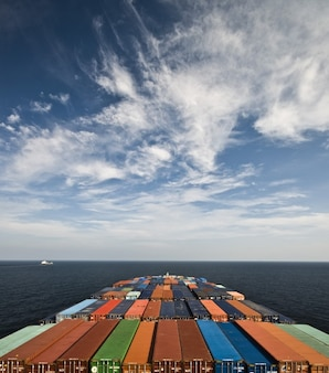 Big container ship in the sea