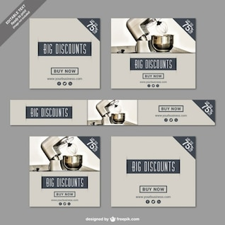 Big discounts banners for kitchen tools