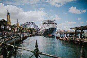 Big ship docked in Sydney harbor