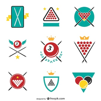 Billiards stickers and labels free vector