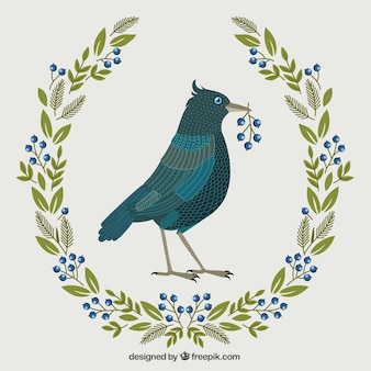 Bird illustration with floral wreath