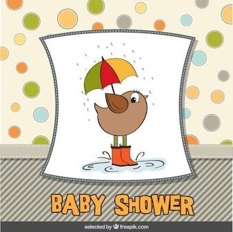Bird with umbrella baby shower card