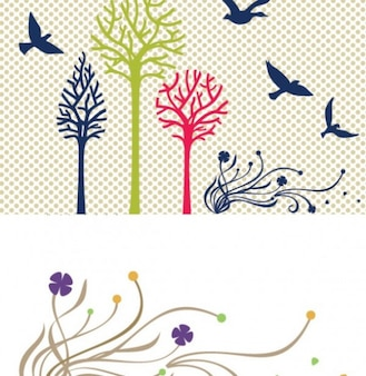 Birds trees colorful silhouettes vector set