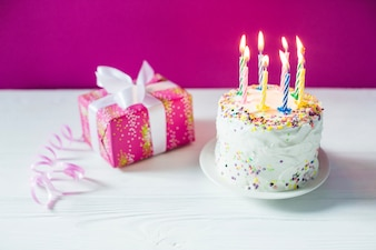 Birthday cake and giftbox