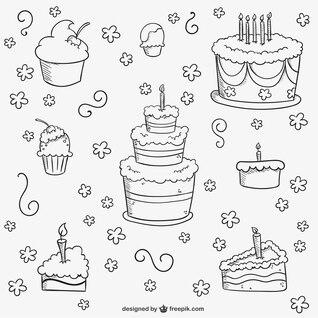 Birthday cakes doodles