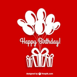 Birthday card red and white