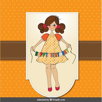 Birthday card with beautiful girl
