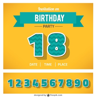 Birthday invitation with numbers